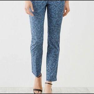 J . Jill Blue Paisley Perfect Ankle Crop Pants